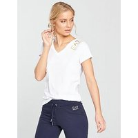 Emporio Armani EA7 Foil Logo V Neck Tee - White , White, Size Xs, Women