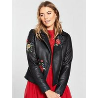 V by Very Embroidered Faux Leather Jacket - Black, Black, Size 8, Women