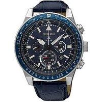 Seiko Seiko blue dial chronograph blue leather strap mens watch, One Colour, Men