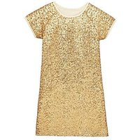 V by Very Sequin Gold Dress, Gold, Size 13 Years, Women