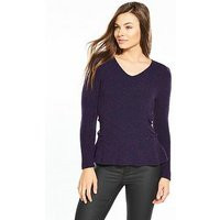 V by Very Power Shoulder Lace Up Side Jumper - Grape, Grape, Size 12, Women