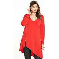 V by Very Curve Asymmetric Eyelet Top, Red, Size 26, Women