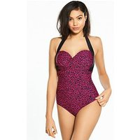 V by Very Shapewear Mulitway Underwired Swimsuit - Leopard Print, Print, Size 36Dd, Women