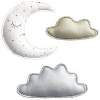 Mamas & Papas Mamas & Papas Clouds & Moon Wall Art, One Colour