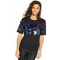 V by Very Petite Sequin Panel T-Shirt, Black, Size 8, Women
