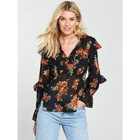 V by Very Floral Tie Neck Top - Black, Black Floral, Size 18, Women