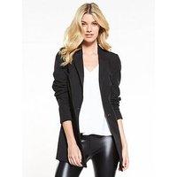 V by Very The Longline Jacket - Black, Black, Size 8, Women