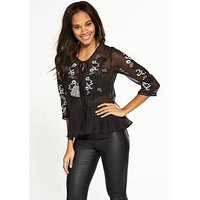 V by Very Embroidered Tassel Top - Black, Black, Size 18, Women