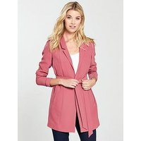 V by Very Longline Belted Jacket - Berry Rose, Berry Rose, Size 8, Women
