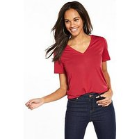 V by Very V-neck Cupro T-shirt - Red, Red, Size 16, Women