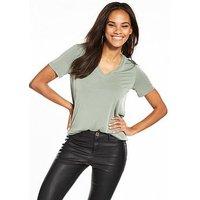 V by Very V-neck Cupro T-shirt - Sage, Sage, Size 10, Women
