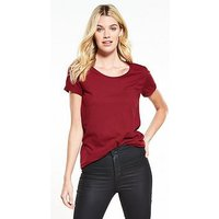 V by Very New Perfect Scoop Neck T-shirt - Berry, Berry, Size 8, Women