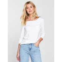 V by Very Three-quarter Sleeve Perfect T-shirt - White, White, Size 24, Women