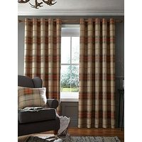 Product photograph showing Catherine Lansfield Brushed Heritage Check Lined Eyelet Curtains