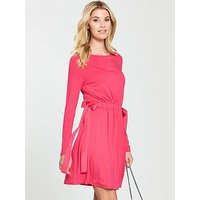 V by Very Bow Side Jersey Dress - Hot Pink, Hot Pink, Size 20, Women