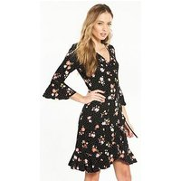 V by Very Wrap Jersey Skater Dress, Ditsy Print, Size 12, Women