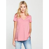 V by Very Woven Jersey Mix Top - Blush, Blush, Size 8, Women
