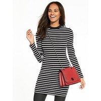V by Very Turtle Neck Tunic, Stripe, Size 22, Women
