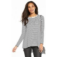 V by Very Long Sleeve Swing Top, Stripe, Size 8, Women