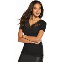 V by Very Lace Insert Rib Top - Black, Black, Size 12, Women