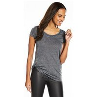 V by Very Washed Knot Front T-shirt - Grey, Grey, Size 12, Women
