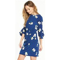 V by Very Jersey Eyelet Sleeve Dress, Print, Size 10, Women