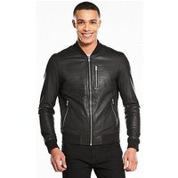 Selected Homme Trunk Leather Bomber, Black, Size S, Men