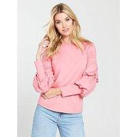 V by Very Balloon Sleeve Top - Blush, Blush, Size 22, Women