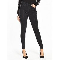 V by Very Tallia Mid Rise Front Seamed Skinny Jean, Black, Size 18, Women