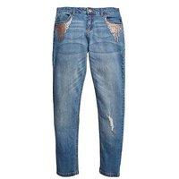V by Very Sequin Detail Skinny Jean With Stretch, Mid Wash, Size 8 Years, Women