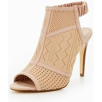 V by Very Alexis Knitted Shoe Boot - Nude, Nude, Size 8, Women