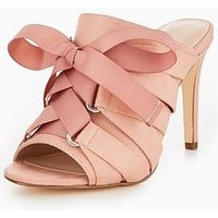 V by Very Khloe Lace Up Bow Mule Blush, Blush, Size 8, Women