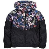 Nike Nike Older Girl Scribble Print Windrunner Jacket, Black, Size Xs=6-8 Years, Women