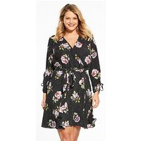 V by Very Curve Ruched Sleeve Wrap Dress - Print , Print, Size 20, Women