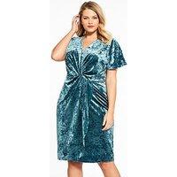 V by Very Curve Velvet Knot Dress, Green, Size 16, Women