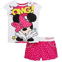 Minnie Mouse Short And Vest Set, Fuchsia, Size 5-6 Years, Women