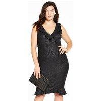 AX PARIS CURVE Frill Bodycon Dress - Black, Black, Size 16, Women