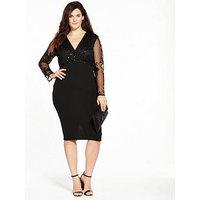 Ax Paris Curve Sequin Wrap Front Dress - Black