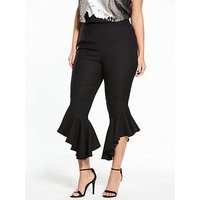 V by Very Curve Fluted Flared Hem Trouser, Black, Size 18, Women