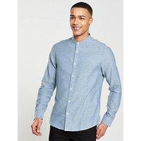 ONLY & SONS Nicholas Long Sleeve Melange China Shirt, Blue, Size Xl, Men