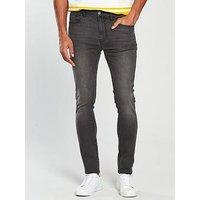 V by Very Skinny Fit Jean, Blackwash, Size 34, Inside Leg Short, Men