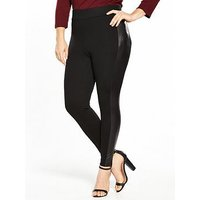 V by Very Curve PU Panel Ponte Legging - Black , Black, Size 20, Women