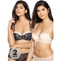 DORINA 2 Pack Layla Balconette Bra - Black/Light Pink, Black/Light Pink, Size 34A, Women