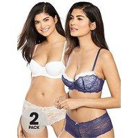 DORINA 2 Pack Layla Balconette Bra - Blue/Ivory, Blue/Ivory, Size 38D, Women