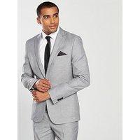 V by Very Slim Textured Blazer - Grey, Grey, Size Chest 40, Length Regular, Men