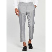 V by Very Slim Textured Cropped Trouser - Grey , Grey, Size 32, Length Regular, Men