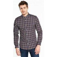 V by Very Long Sleeve Large Check Shirt, Navy Multi, Size 2Xl, Men