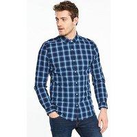 V by Very Long Sleeve Check Shirt - Indigo , Dark Denim, Size S, Men
