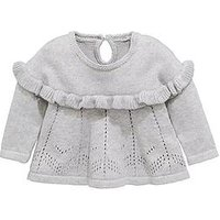 Mini V by Very Baby Girls Sparkle Knitted Top, Grey, Size Age(Months): 18-24 Months