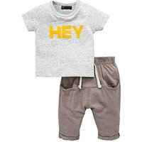 Mini V by Very Baby Boys Hey Tee & Jogger Set, Multi, Size Age(Months): 0-3 Months (14.5Lbs)